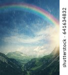 sun and rainbow at the rainy day | Shutterstock . vector #641634832