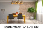 interior dining area. 3d... | Shutterstock . vector #641641132