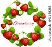 juicy strawberry vector frame... | Shutterstock .eps vector #641658385