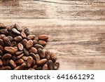 Aromatic Cocoa Beans On Wooden...