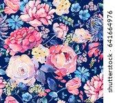 bright vintage natural floral...   Shutterstock . vector #641664976
