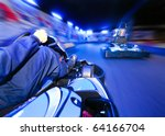 two go carts racing close to... | Shutterstock . vector #64166704