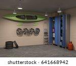 big garage interior with many... | Shutterstock . vector #641668942