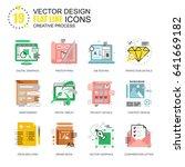 flat line creative process... | Shutterstock .eps vector #641669182