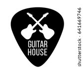 guitar house logo with crossing ... | Shutterstock .eps vector #641669746