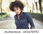 young black woman with afro... | Shutterstock . vector #641670592