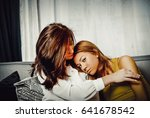 mother and doughter sitting on... | Shutterstock . vector #641678542