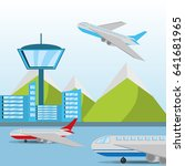 airplane flying around the... | Shutterstock .eps vector #641681965