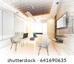 sketch design of study room ...   Shutterstock . vector #641690635