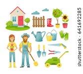 garden elements. eco farm with... | Shutterstock .eps vector #641692285