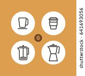 set of different flat coffee... | Shutterstock .eps vector #641693056