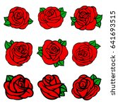 flowers roses  red buds and...   Shutterstock .eps vector #641693515