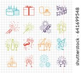 celebration line icons set with ... | Shutterstock . vector #641699548