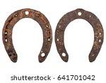 Old Rusty Horseshoe On A White...