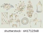 set of sketches of elegant... | Shutterstock . vector #641712568