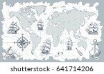 hand drawn vector world map... | Shutterstock .eps vector #641714206