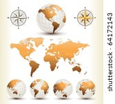 earth globes with detailed... | Shutterstock .eps vector #64172143
