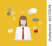 call center with girl flat... | Shutterstock . vector #641723158