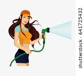 girl with a hose . girl with a... | Shutterstock .eps vector #641725432