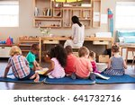 pupils at montessori school... | Shutterstock . vector #641732716