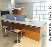 kitchen with modern style.3d... | Shutterstock . vector #64173430