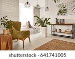 living room with wooden... | Shutterstock . vector #641741005