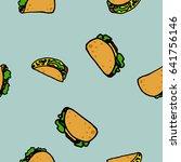 cartoon seamless vector taco... | Shutterstock .eps vector #641756146