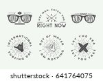 set of vintage surfing logos ... | Shutterstock .eps vector #641764075