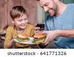 portrait of happy father and... | Shutterstock . vector #641771326