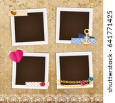 collage photo frame on vintage... | Shutterstock .eps vector #641771425