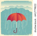 rain cloud with red umbrella ... | Shutterstock .eps vector #641779822