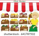 female worker of grocery store... | Shutterstock .eps vector #641787532
