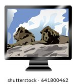 icon tv show with two lions on... | Shutterstock .eps vector #641800462