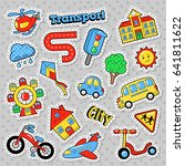 kids fashion badges  patches ... | Shutterstock .eps vector #641811622