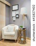 modern fabric armchair with... | Shutterstock . vector #641827402