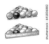 billiard balls with number in... | Shutterstock .eps vector #641836882