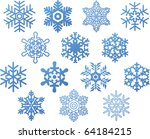 set of blue vector snowflakes | Shutterstock .eps vector #64184215