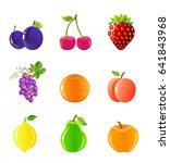 fruits_and_berries_icon_set | Shutterstock .eps vector #641843968