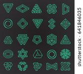 set of impossible shapes  line... | Shutterstock .eps vector #641846035