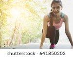 breathless sportswoman athletic ... | Shutterstock . vector #641850202