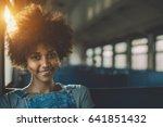 young smiling beautiful black... | Shutterstock . vector #641851432