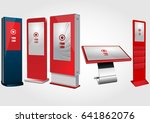 set of red promotional... | Shutterstock .eps vector #641862076