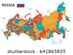 russia map and flag   highly... | Shutterstock .eps vector #641865835