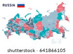 russia map and flag   highly... | Shutterstock .eps vector #641866105