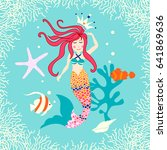 cute reef card with mermaid