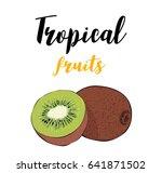 tropical fruit of kiwi. a slice ...