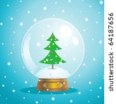 christmas snow globe with a... | Shutterstock .eps vector #64187656