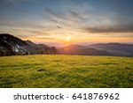 sunset in the mountains  low... | Shutterstock . vector #641876962