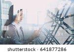 elegant businesswoman in office ... | Shutterstock . vector #641877286