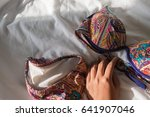 colorful bikini with women hand ... | Shutterstock . vector #641907046